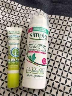 Simple spotless skin rapid action & simple moisture cream spf 30
