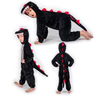 Deluxe Kids Children Black Dinosaur Hoodie Costume Animal Fairytale Outfit 4-7y