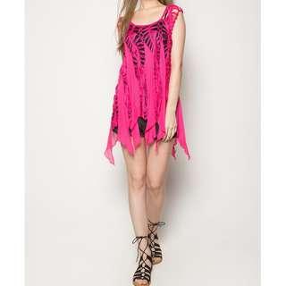 Boho Crochet Swimsuit Coverup (Pink)