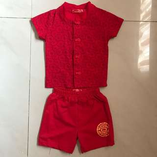 Oriental design top and shorts