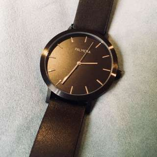 Palmera Apparel Unisex Black Leather Watch
