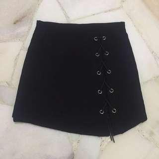 Black Shoelace A Line Skirt