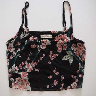 Floral Spaghetti Crop Top [Black]