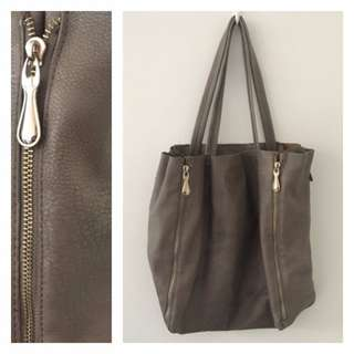Tan Leather Handbag w/ Zips
