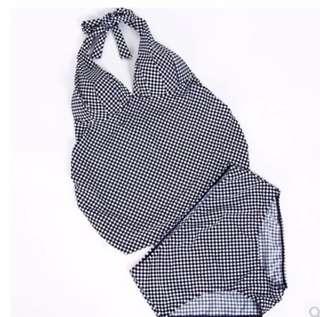 Gingham Maternity tankini swim suit set