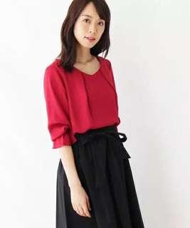 E955日單春夏異素材後背針織簡潔日範襯衫