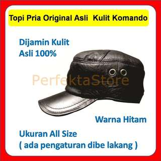 Topi Cowok Pria Komando Original Asli  Kulit