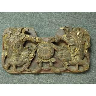 清代 - 特大獨件木彫貼金箔 - 雙獅戲球