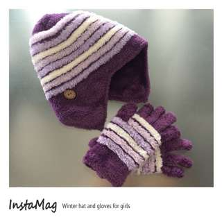 Winter hat & gloves for girls