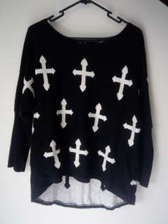 Black Junky Knitted Sweater (gothic cross pattern)