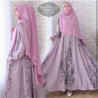 Maxi Dress Simply Gamis Flowers Pink