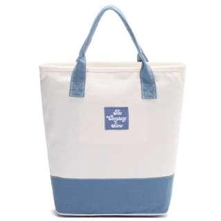 小清新藍白手提袋 拉鍊帆布袋  森女系購物袋 the company store