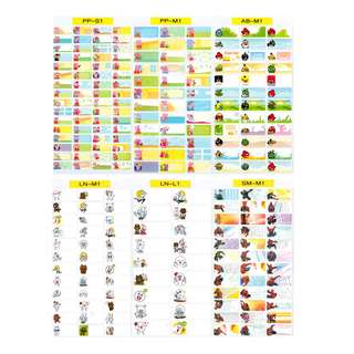 Sticker Set 1 - Waterproof Name Stickers  - Peppa Pig, Angry Birds, Line, Spiderman, Minions, Tsum Tsum, Hello Kitty, Little Pony,