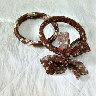 Wooden bracelets with fabric(2pcs)