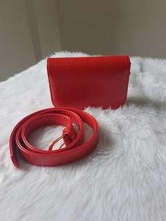 Croc pattern Belt Bag Red