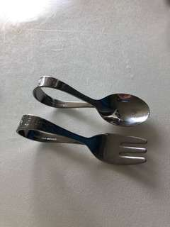Baby toddler curved spoon and fork cutlery set