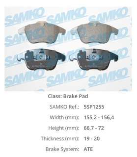 Front Brake Pads for Range Rover Evoque