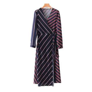 European and American style striped print cross V-neck stripe long dress