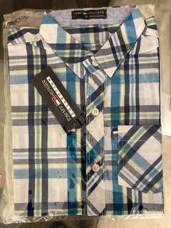 TOMMY HILFIGER  white and blue  boys checks shirt