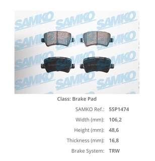 Rear Brake Pads for Range Rover Evoque