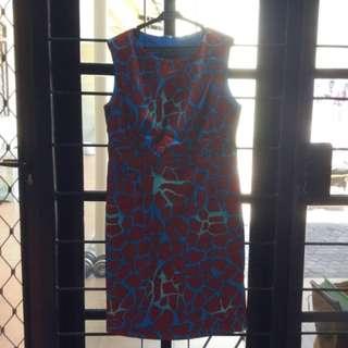 Dress Biru Merah