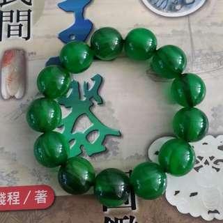 舊玻璃底孔雀綠絲密蜡手串
