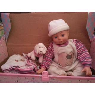 Baby doll Pink come with toy dog and clothes all in box