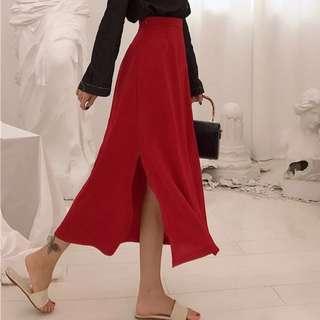 Korean Chic Red Long Dress