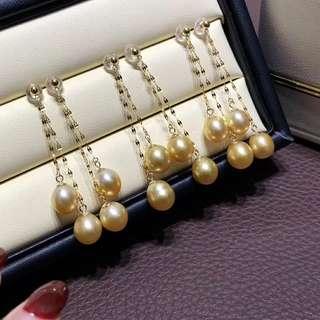 流蘇18k金天然濃金8-9mm南洋金珠耳環,很修飾臉型的一款,喜歡的別錯過啦!🤗