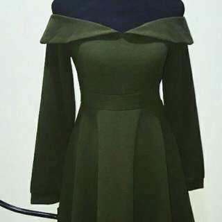 Army green skater dress