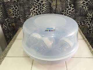 Philips Avent Microwave steam steriliser wth bottle x 4