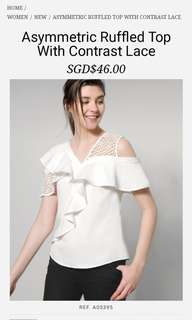 Saturday club Asymmetric Ruffled Top With Contrast Lace white