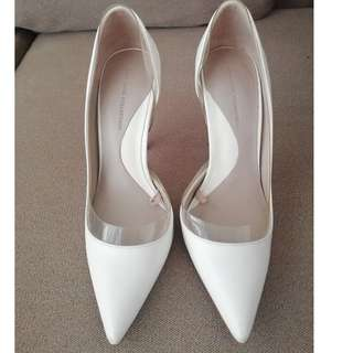 Zara White Vinyl Court Shoes