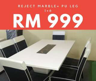Dining table marble + 6 chairs (1 set)