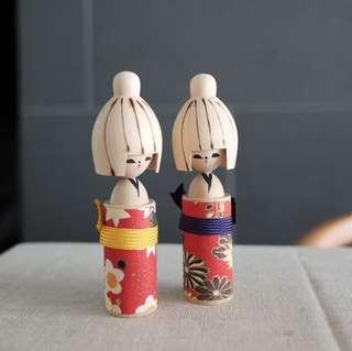 木製日本娃娃 木頭 和服 公仔 禮物 Japan Japanese present gift kimono wooden dolls deco