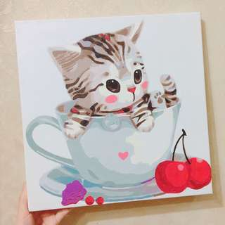 🐱(💯DIY) 慈善30*30數字油畫 - 豹紋貓