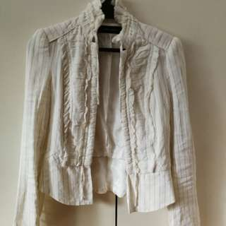 White Zara Jacket Ruffles