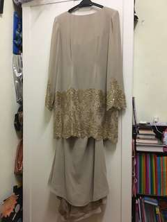 Brown kurung modern with patch lace