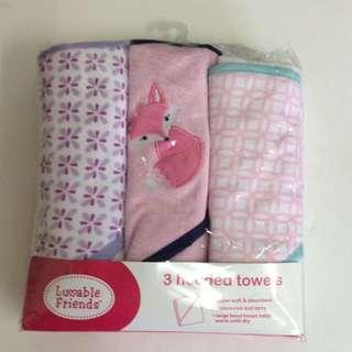 Luvable Friends 3pk Hooded Towel