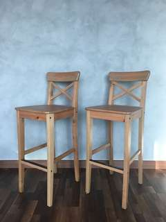 Ikea INGOLF bar stool with back rest