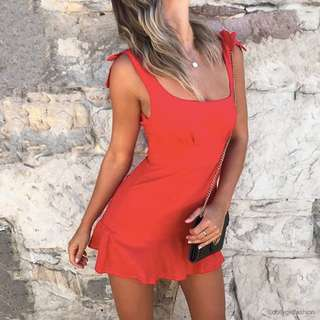 Red Tie-Shoulder Mini Dress (Taylor Mini Dress)