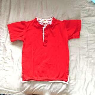 Preloved Red Mandarin Collar Shirt