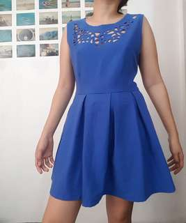 Blue lasercut dress