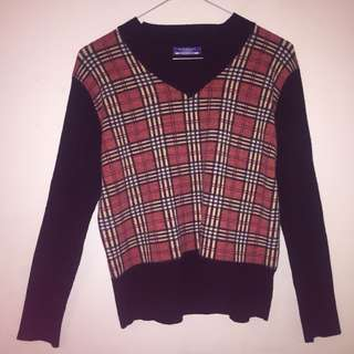 Burberry Blue Label Wool Tartan Sweater