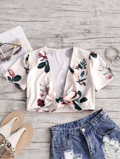 FLORAL CROP TOP - BEIGE