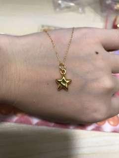 pure gold 999 星星 +18k金頸鏈