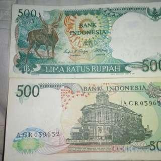 Uang kuno Rp 500 thn 1988, Rp 1000 thn 1987