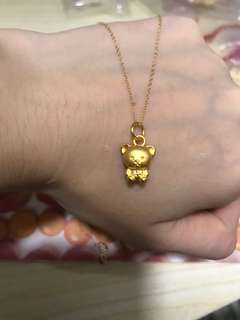 pure gold 999 小熊 +18k金頸鏈