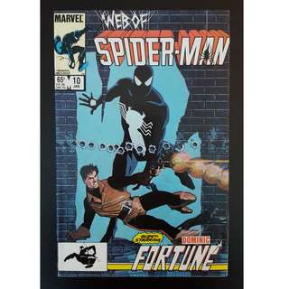 Web of Spider-Man #10 (1986 1st Series) Guest-starring Dominic Fortune,  Painted cover by Howard Chaykin