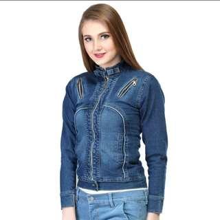 Jaket jeans stretch wanita kemeja jins cewek
